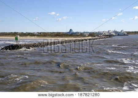 Rock Jetty on the Delaware Bay by the Cape May-Lewes Ferry landing in Delaware
