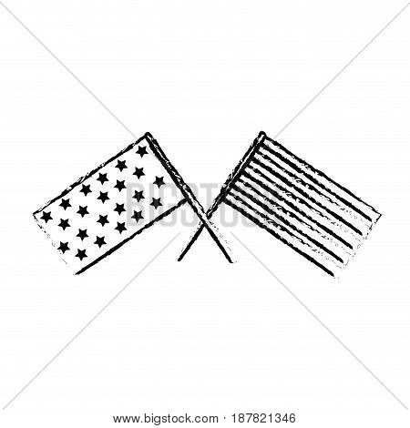 figure usa flags to celebrate holiday patriotic, vector illustration