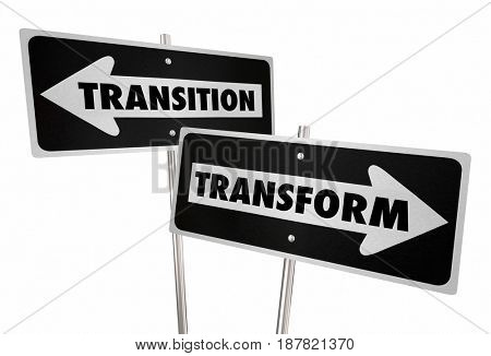 Transformation Transition Road Street Signs Change Disrupt 3d Illustration