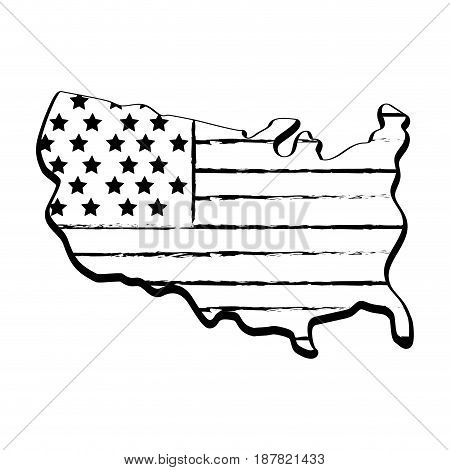 figure map with flag inside to celebrate patrotism, vector illustration