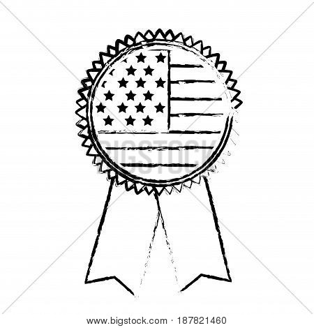 figure emblem with flag of usa inside, vector illustration design