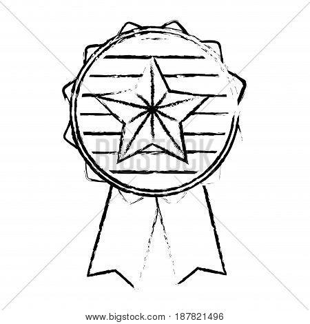 figure emblem with star inside and ribbon design, vector illustration
