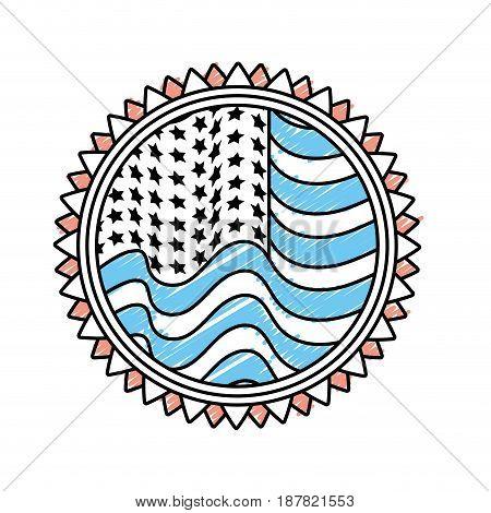 emblem with flag of usa inside, vector illustration design