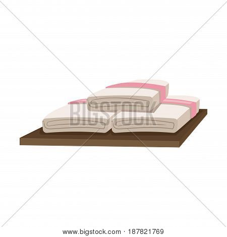 spa towels on wooden. relax day spa hygiene vector illustration