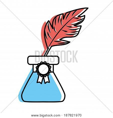 cute inkpot with feather to writing manuscript, vector illustration
