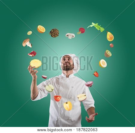 Chef plays with the vegetable as a juggler and creates a heart