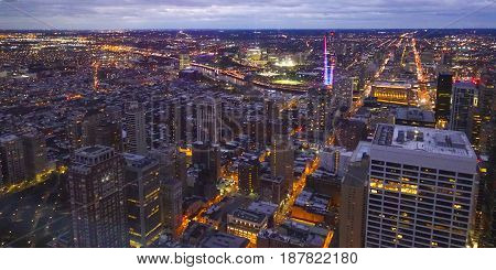 Beautiful night view over the city of Philadelphia in the evening  -  2017