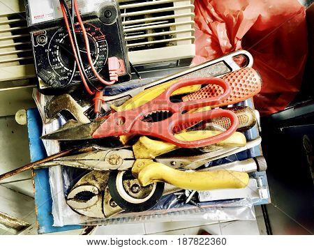 Used Wrench, Pliers, Scissors and Electrical Tester