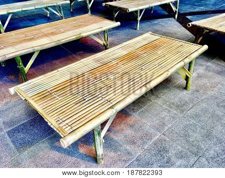 Wooden Bench Made From Dried Bamboo Used to Seat Many People.