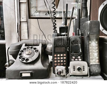 Collection of Old Classic Retro Telephone with Old Style Cellular Mobile Phone.