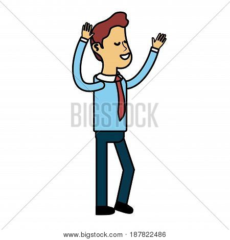 nice man with hands up and casual wear, vector illustration
