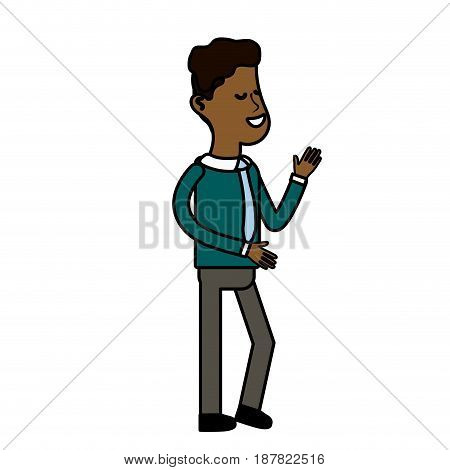 cute man with hairstyle and elegant wear, vector illustration