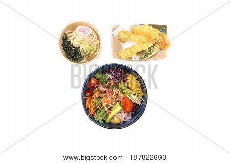 poke bowl and udon and tempura combo on white