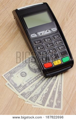 Payment Terminal With Currency Dollar, Credit Card Machine