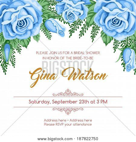 Bridal shower invitation template with flowers. Vector Illustration in retro style