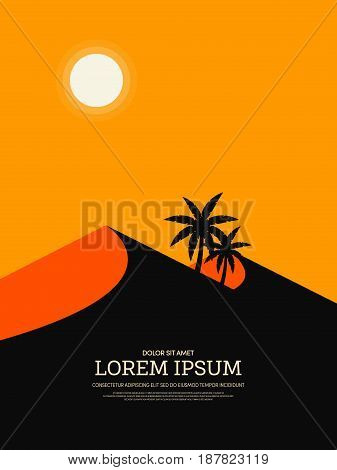 Retro vintage desert landscape design element template can be used for poster background; printing; backdrop vector illustration