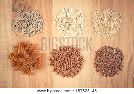 Vintage Photo, Natural Ingredients Containing Magnesium And Dietary Fiber, Concept Of Healthy Nutrit
