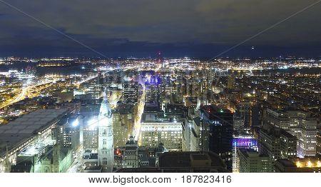 Beautiful Philadelphia at night - great aerial view  -  2017