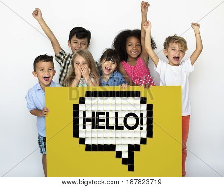 Kids Say Hello Hi Greeting Speech Bubble Graphic