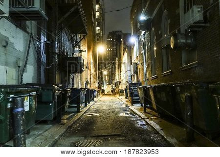 Scary and creepy lane in Philadelphia by night -  2017