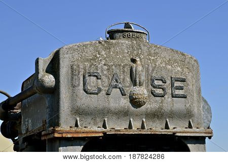 BARNESVILLE,MINNESOTA: September 214, 2014: The tractor grill and eagle design is from the Case Corporation which was a manufacturer of construction equipment and agricultural equipment, founded by Jerome I. Case, it existed for over 150 years.