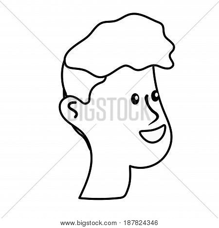 line happy and nice head man with hairstyle, vector illustration