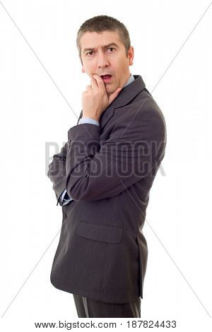 young business man surprised isolated on white