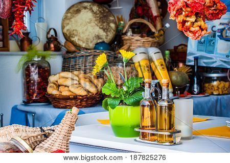 Ingredients in local Greek restaurant in Santorini, Greece