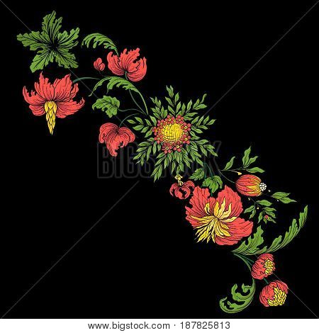 Embroidery for the collar line. Floral ornament in vintage style on a black background. Stock vector illustration.