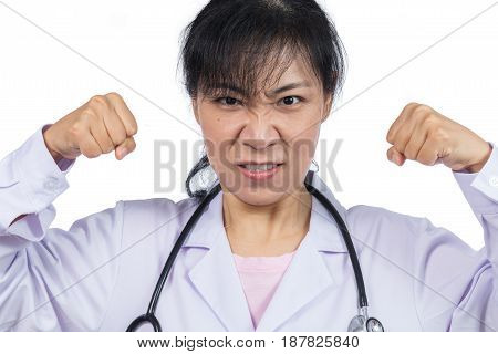 Angry Asian Female Doctor Showing Threatening Fists
