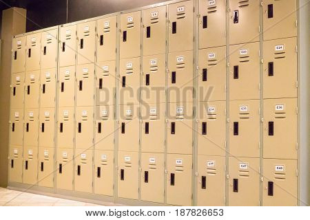 Row Of Old Lockers In School Hallway stock photo