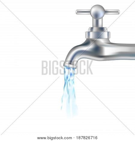 Vector silver tap with water. Design for icon. Water falling from tap. Vector illustration.