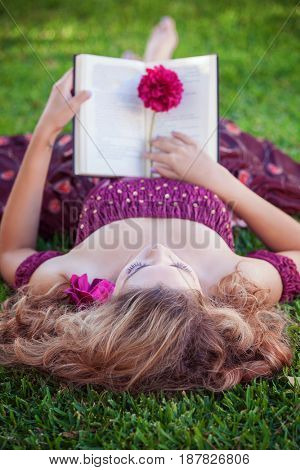 fantasy woman reading book