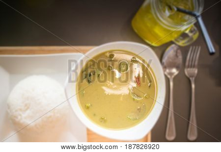 Thai Chicken Curry with Vegetables in Coconut Milk stock photo