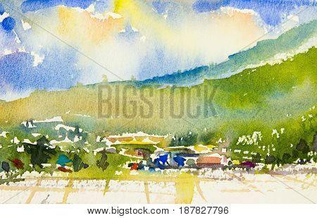 Watercolor landscape original painting colorful of mountain view cornfield hillside village and emotion in sky cloud background.