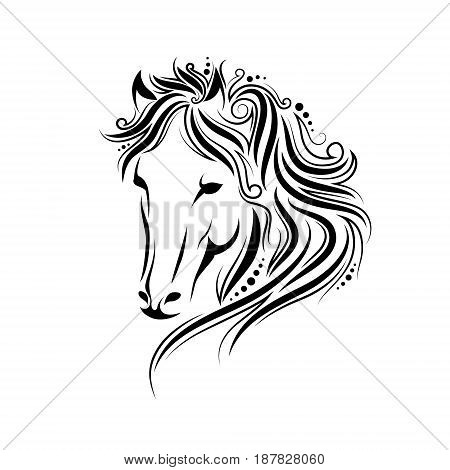 Stylized Doodle And Curls Horse Portrait. Ink Tribal Horse Head Design, Perfect For Logo Or Tattoo,