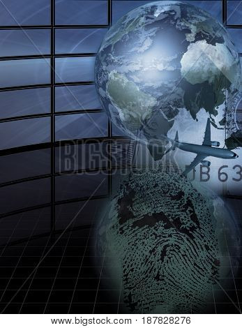 Complex picture. Globe and plane represents traveling. Finger print.   3D rendering    Some elements courtesy of NASA