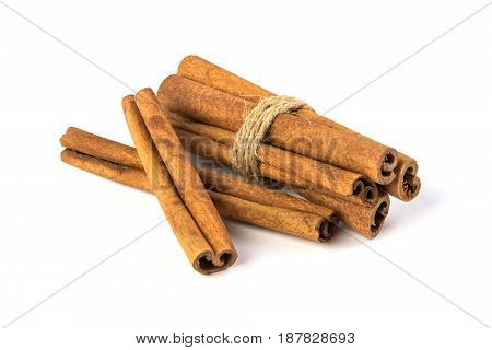Close up brown Cinnamon isolated on white background