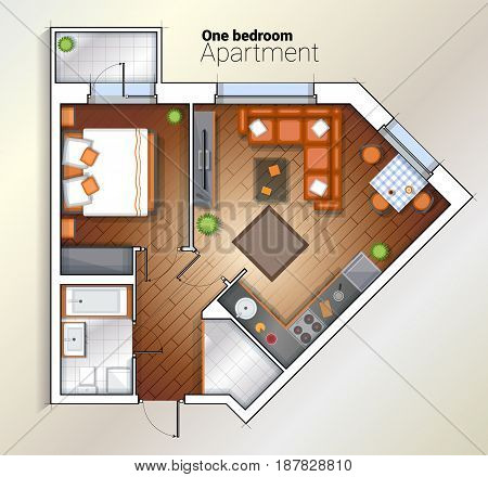Vector top view color architectural floor plan of one bedroom apartment. Modern dining room, bedroom and bathroom interior with furniture.