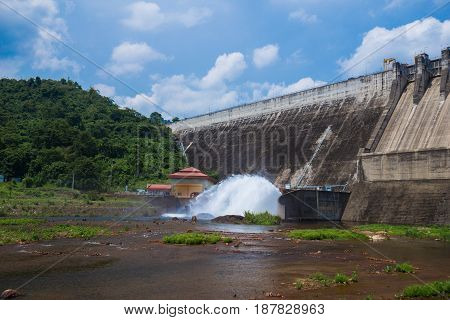 Front View Of Khun Dan Prakan Chon Dam At Nakhon Nayok In Thailand