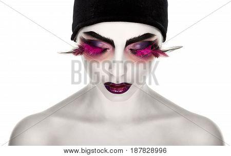 Face Art. Fantastic Make Up. luxury feather eyelashes on white background