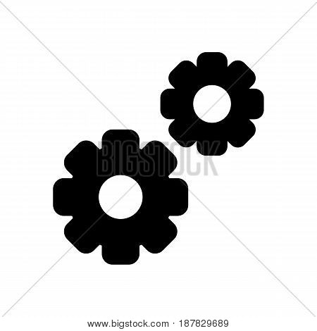 Gear vector icon. Black and white two gears illustration. Solid linear icon. eps 10