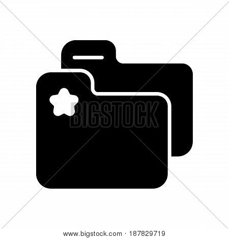 favorite folder with star sign vector icon. Black and white folder with documents illustration. Solid linear office icon. eps 10