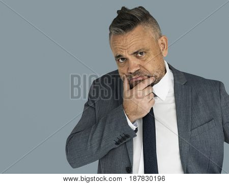 Caucasian Business Man Thinking