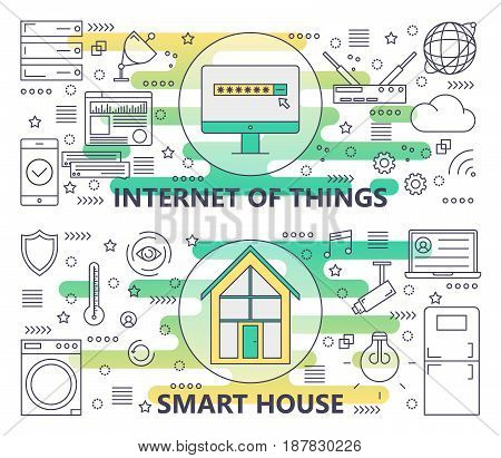Vector set of Internet of things and Smart House concept banners. Modern thin line flat design elements for web, marketing, presentation and printing.