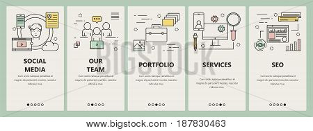 Vector set of vertical banners with Social media, Our team, Portfolio, Services and SEO concept templates. Modern thin line flat design elements, symbols, icons for website menu, marketing.