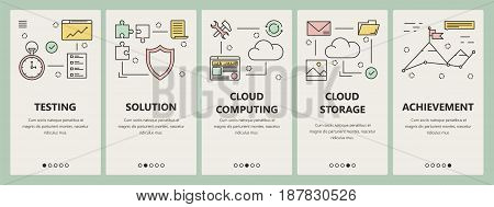Vector set of vertical banners with Testing, Solution, Cloud computing, Cloud storage and Achievement concept templates. Modern thin line flat design symbols, icons for website menu, print.