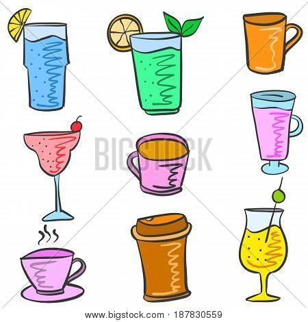 Colorful various drink set doodles vector illustration