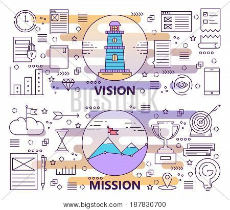 Vector set of Vision and Mission concept banners. Modern thin line flat design elements, icons for web, marketing, presentation and printing.