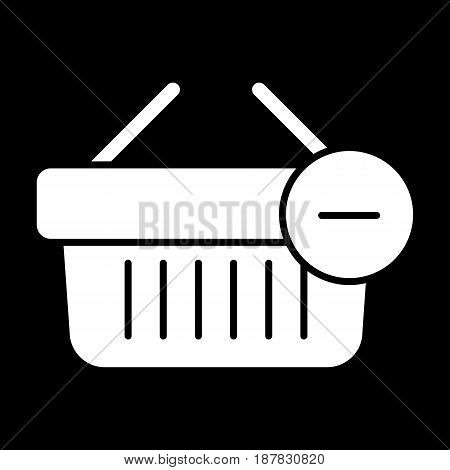 Shopping basket vector icon. Black and white Remove from cart illustration. Solid linear icon. eps 10